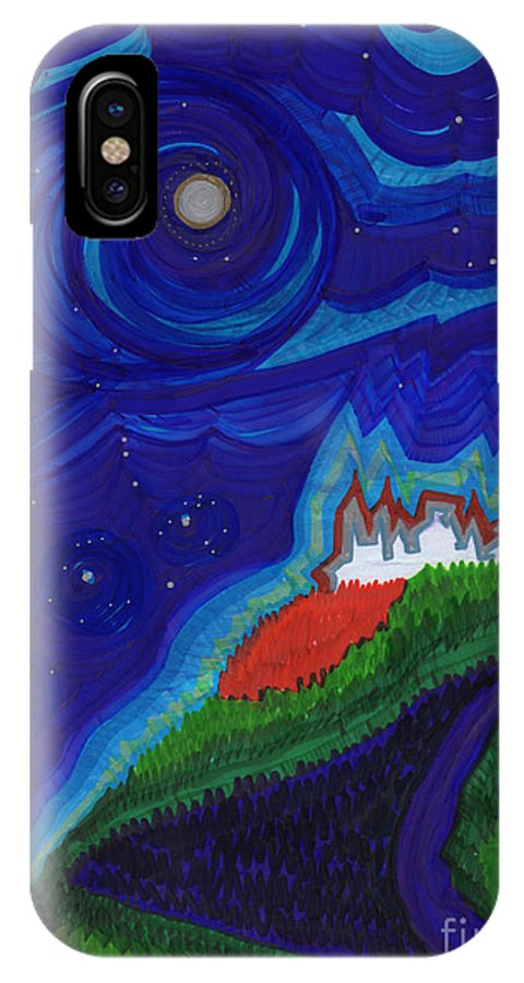 First Star Art IPhone X / XS Case featuring the drawing Castle On The Cliff By Jrr by First Star Art