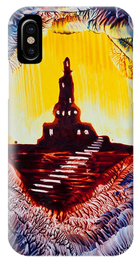 Castle IPhone X / XS Case featuring the painting Castle Rock Silhouette Painting In Wax by Tisha Art