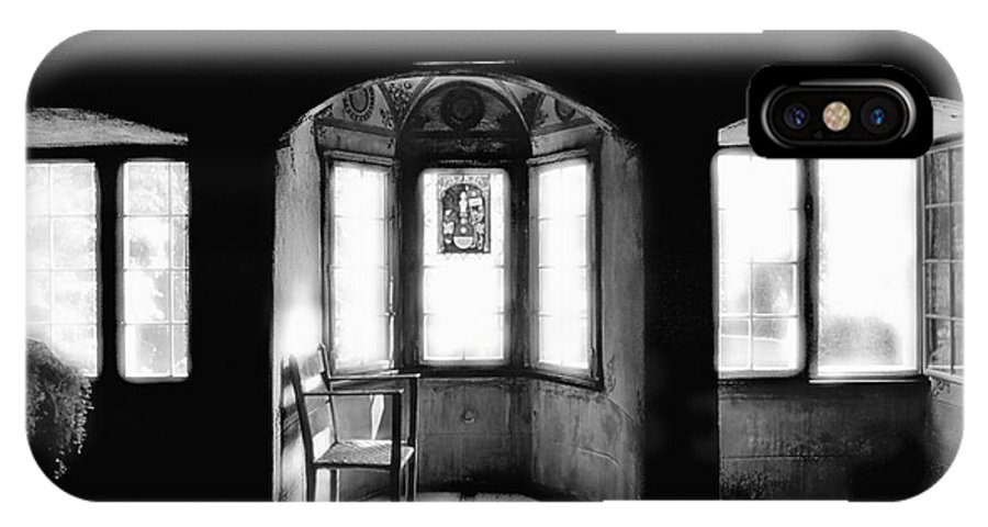 Castle IPhone X Case featuring the photograph Castle Room With Chair Bw by Mike Nellums