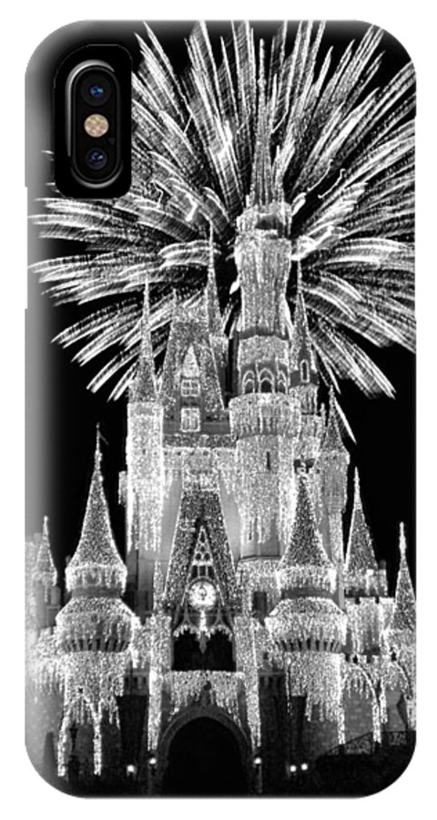 Black And White IPhone X Case featuring the photograph Castle With Fireworks In Black And White Walt Disney World by Thomas Woolworth