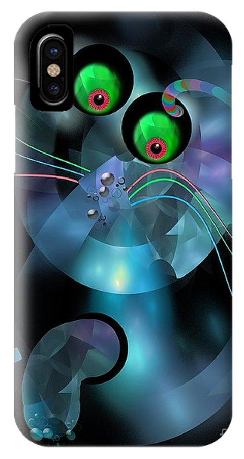 Graphics IPhone X Case featuring the digital art Cat 007-13 Marucii by Marek Lutek