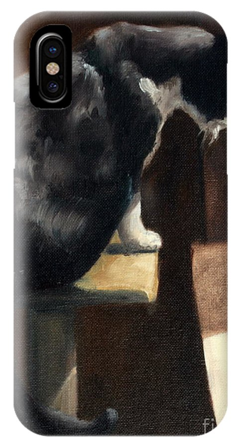 Cat IPhone X Case featuring the painting Cat At A Window With A View by Lisa Phillips Owens