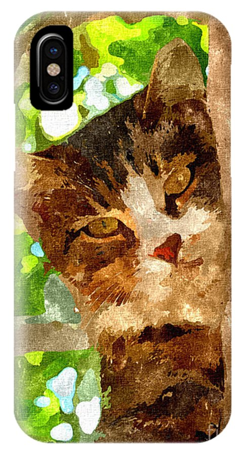 Cat IPhone X / XS Case featuring the mixed media Cat In A Tree by Dori Marie Art By Design