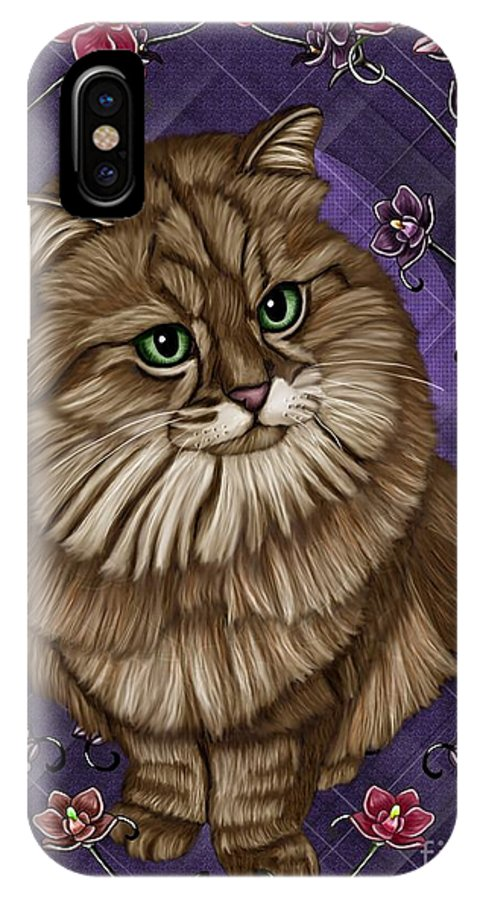 Cat IPhone X / XS Case featuring the painting cat by Karen Sheltrown