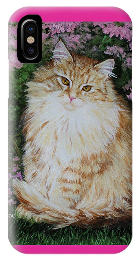 'cat Print Fine Art IPhone X Case featuring the painting Kitten Cat Painting Perfect For Child's Room Art by Diane Jorstad