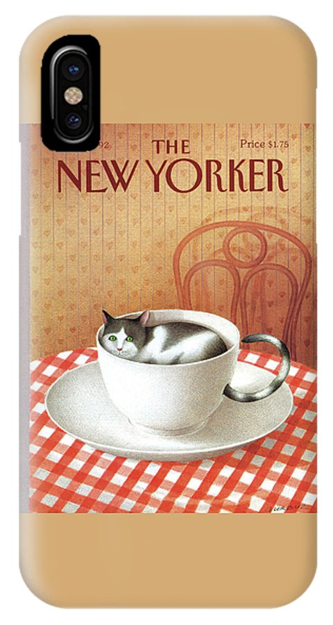 Cat Cats Pets Pet Animal Animals Cats Coffee Tea Cup Diner Chair Table Saucer IPhone X Case featuring the painting Cat Sits Inside A Coffee Cup by Gurbuz Dogan Eksioglu