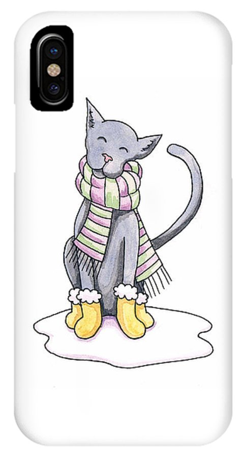 Cat IPhone X Case featuring the painting Cat Wearing Scarf by Christy Beckwith