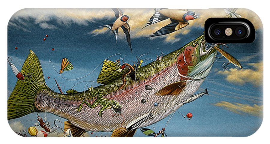 Rainbow Trout IPhone X Case featuring the painting Catch And Release by Philip Slagter