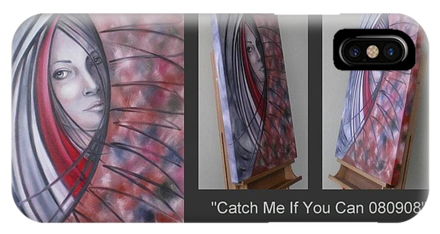 Original IPhone X / XS Case featuring the painting Catch Me If You Can 080908 by Selena Boron