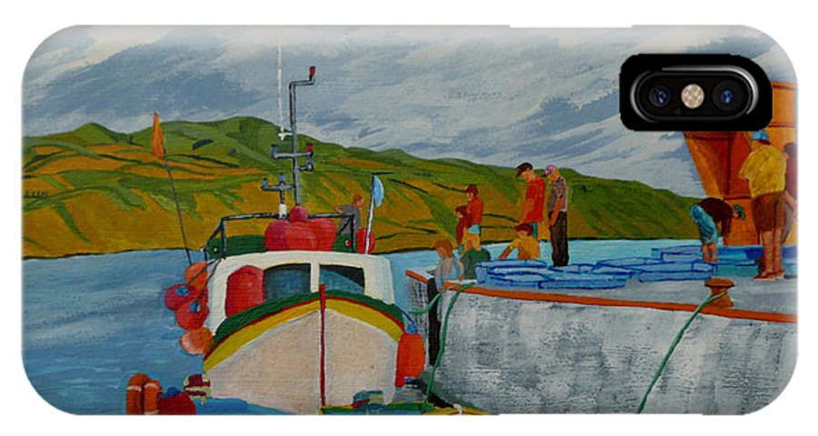Boats IPhone X Case featuring the painting Catch Of The Day by Anthony Dunphy
