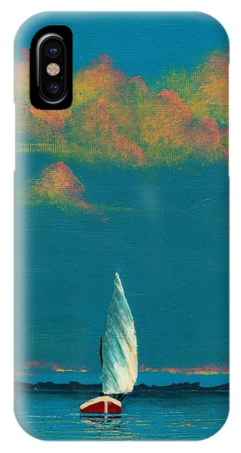 Landscape Painting IPhone X Case featuring the painting Catching The Breeze by Edith Peterson