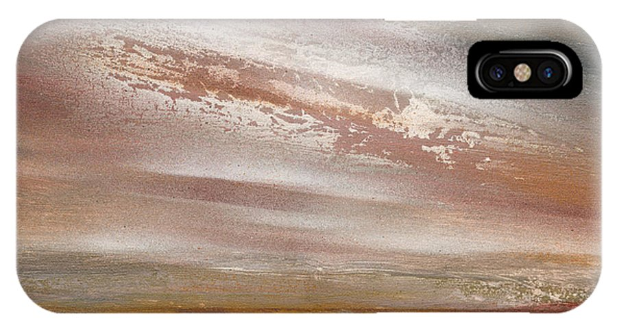Reservoir Landscape Sunset Abstract Textures Northumberland IPhone X Case featuring the mixed media Catcleugh Reservoir Series Sunset by Mike  Bell