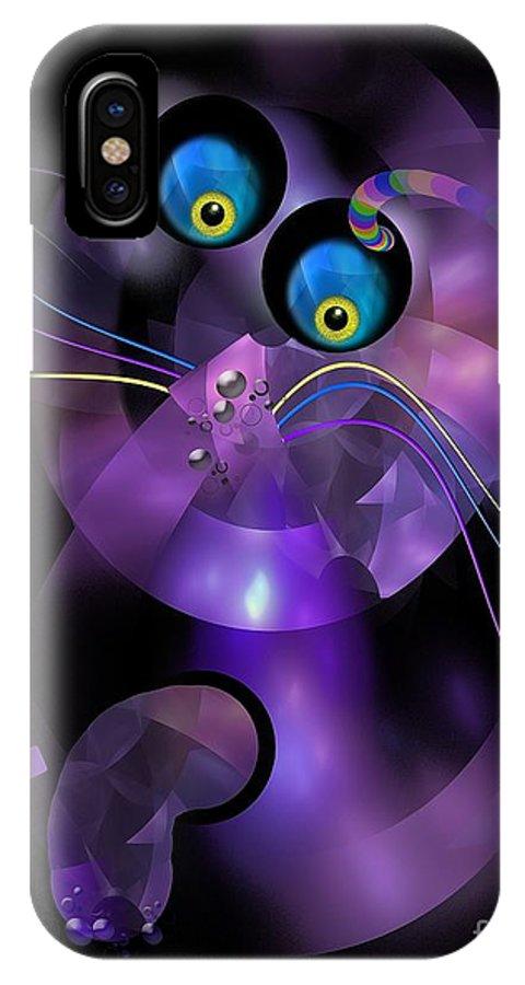 Cat IPhone X Case featuring the digital art Cats 006-13 - Marucii by Marek Lutek