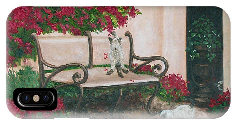 Cat Fine Art IPhone X Case featuring the painting Cat Art Print On Canvas Oil Painting Hire Commission Pet Portrait Artist by Diane Jorstad