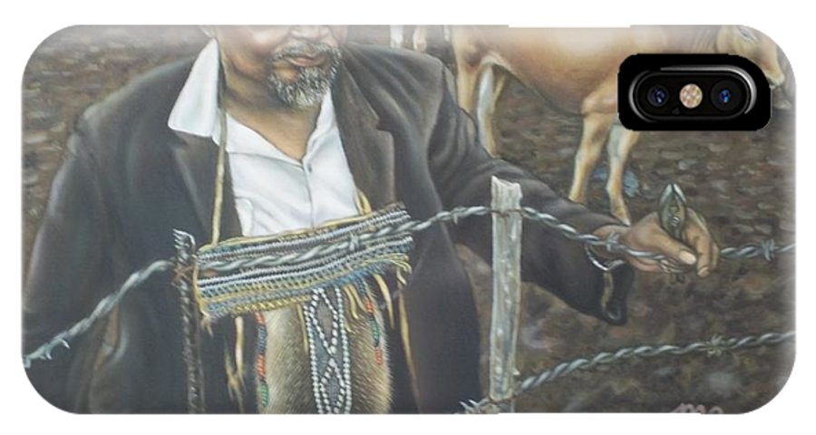 African Rancher Portrait Animal Landscape Cow Pensive Fence Mending Mud Cheiftan Post Pliers Cane IPhone X Case featuring the painting Cattle And African Rancher by Michael Briere