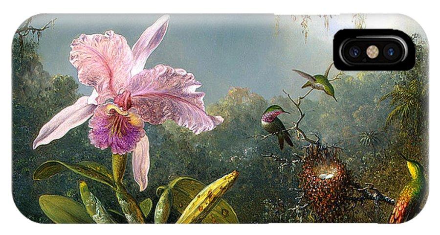 Cattleya Orchid And Three Brazilian Hummingbirds IPhone X Case featuring the digital art Cattleya Orchid And Three Brazilian Hummingbirds by Emile Munier