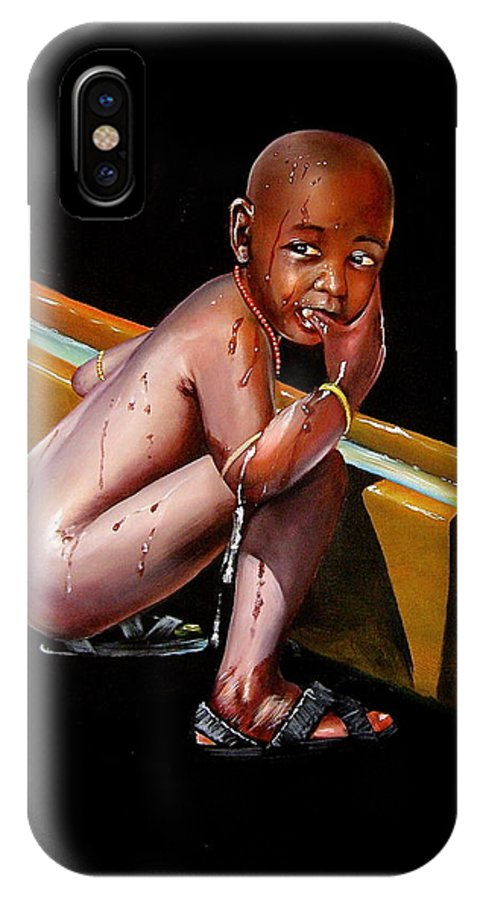 African Paintings IPhone X Case featuring the painting Caught Drinking At The Trough by Chagwi