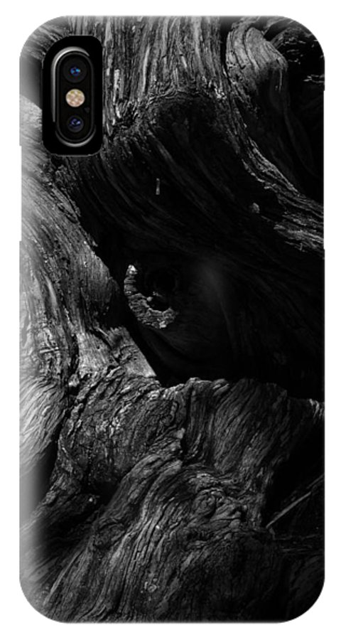 Black IPhone X Case featuring the photograph Cedar Burl Number Two by Phil Penne