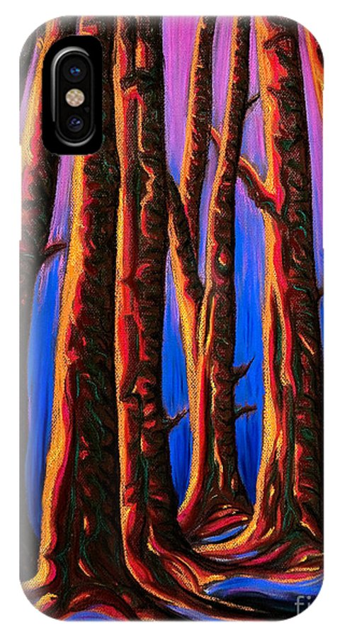 Pastel IPhone X Case featuring the painting Cedars In Stanley Park by Jo-Anne Elniski
