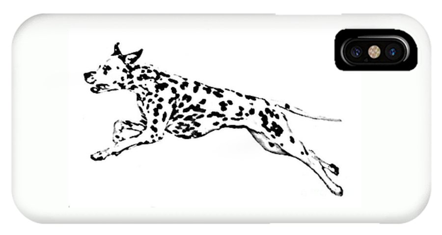 Dogs IPhone X Case featuring the drawing Celebrate by Jacki McGovern