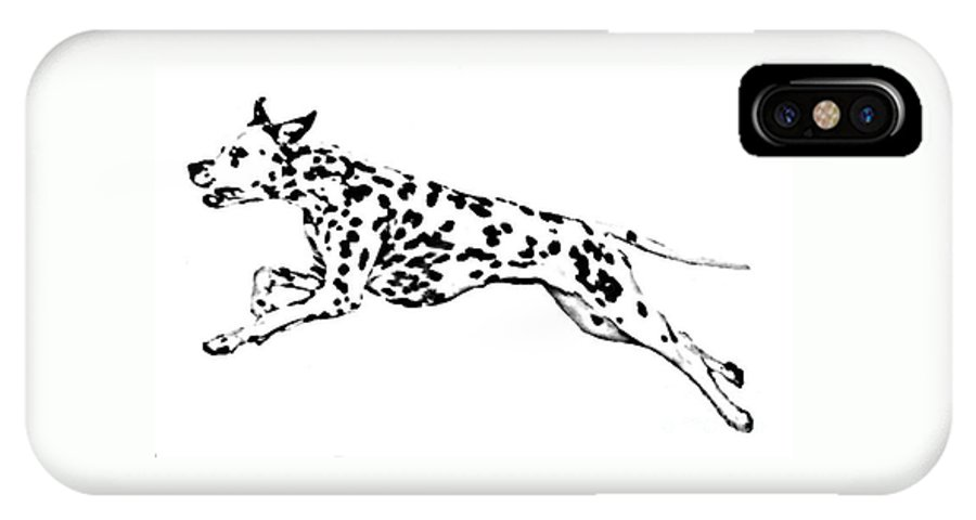 Dogs IPhone X / XS Case featuring the drawing Celebrate by Jacki McGovern