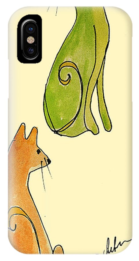 Cats Cat Orange Green Kitten Kittens Lovers Pair Cathy Peterson IPhone X Case featuring the painting Celery And Carrots. A Pair Of Silly Cats. by Cathy Peterson