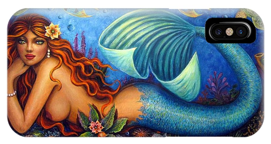 Nude Mermaid Fish Turtle Ocean Art Print From Original By Lisha Sotelo IPhone X Case featuring the painting Celeste The Goddess Of The Sea by Lisha Sotelo