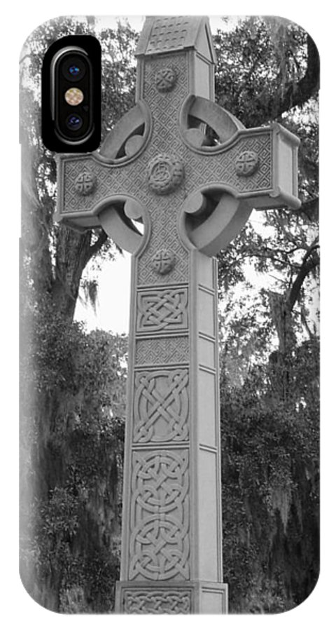 Celtic IPhone X Case featuring the photograph Celtic Cross In Black And White by Suzanne Gaff