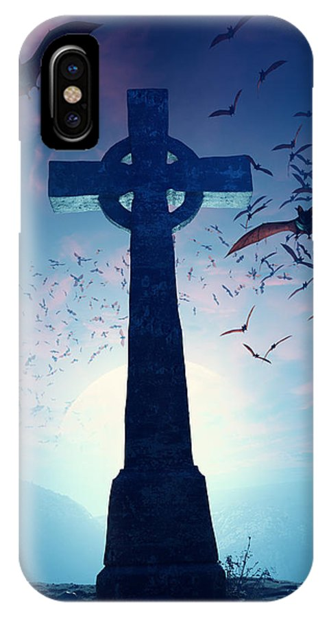 Cross IPhone X Case featuring the photograph Celtic Cross With Swarm Of Bats by Johan Swanepoel