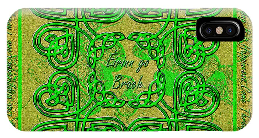 Celtic IPhone X Case featuring the digital art Celtic Irish Clover Home Blessing by Michele Avanti