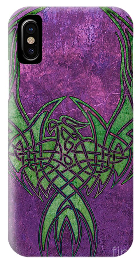 Celtic IPhone X Case featuring the digital art Celtic Phoenix by Mindy Bench