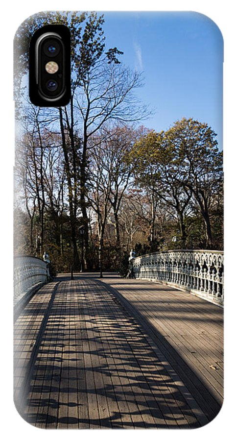 Central Park IPhone X Case featuring the photograph Central Park Bridge Shadows by Georgia Mizuleva