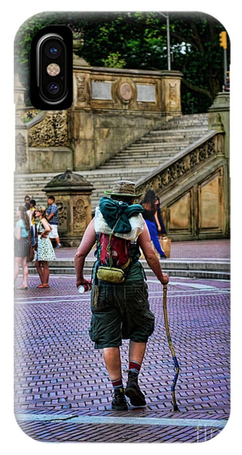 Hiker IPhone X / XS Case featuring the photograph Central Park Hiker by Paul Ward