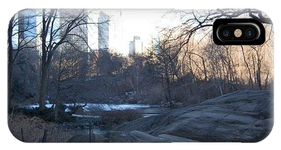 New York IPhone X Case featuring the photograph Central Park Winter Skyline by Fran Wild