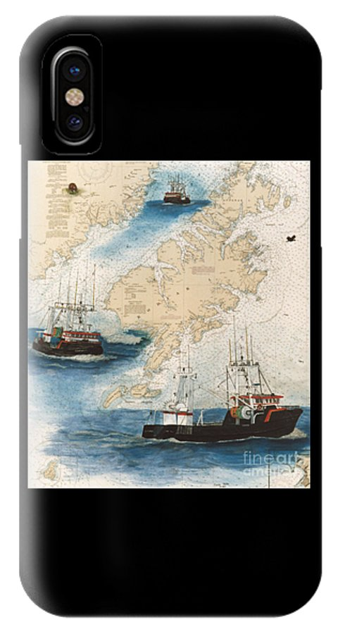 Centurion IPhone X Case featuring the painting Centurion Trawl Fishing Boat Nautical Chart Art by Cathy Peek