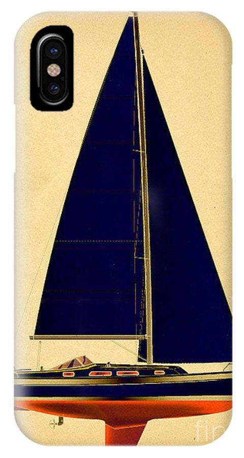 Regina Gallant IPhone X Case featuring the drawing Ceq Black Sails by Regina Marie Gallant
