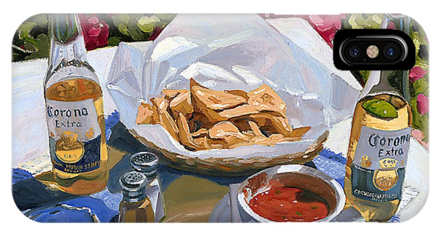 Beer IPhone X Case featuring the painting Cervezas Y Nachos - Coronas With Nachos by Steve Simon