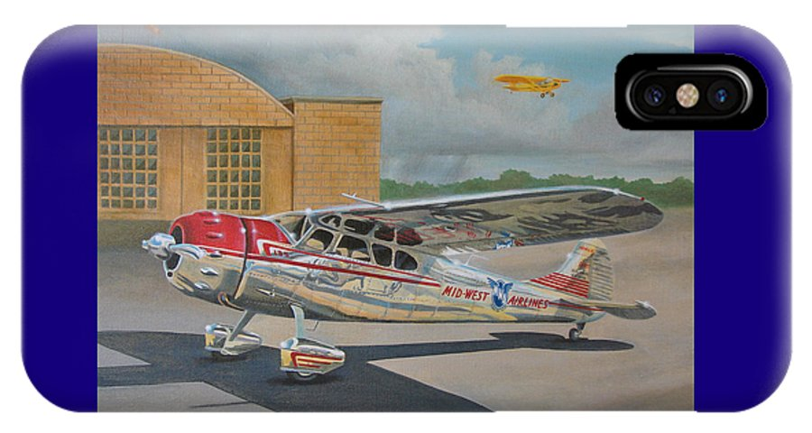 Aviation IPhone X Case featuring the painting Cessna 195 by Stuart Swartz