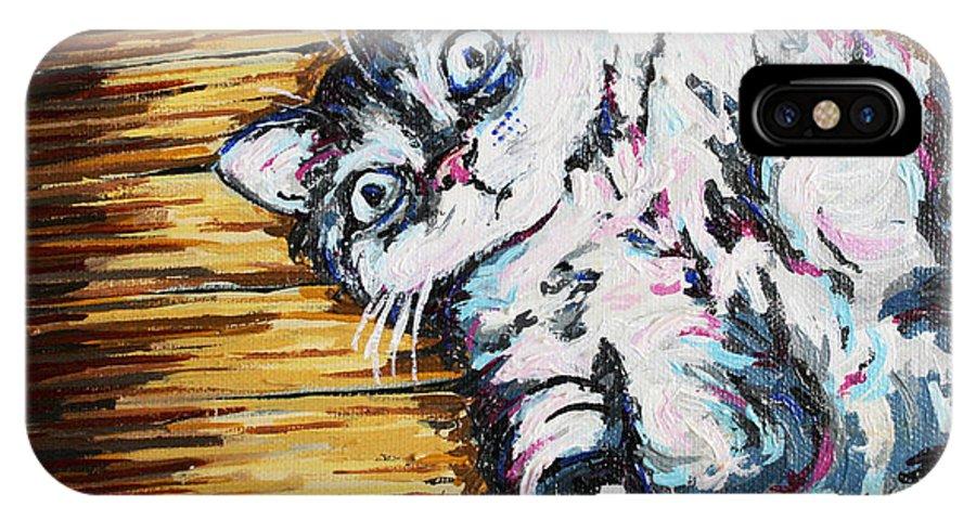 Cat IPhone X Case featuring the painting Chachi Cat Portrait by Bridget Brummel