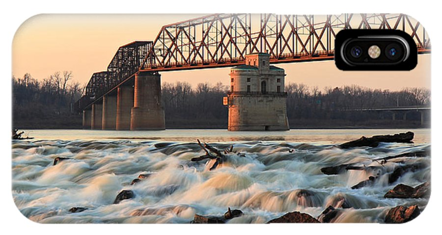 Missouri IPhone X Case featuring the photograph Chain Of Rocks Winter Sunset by Scott Rackers