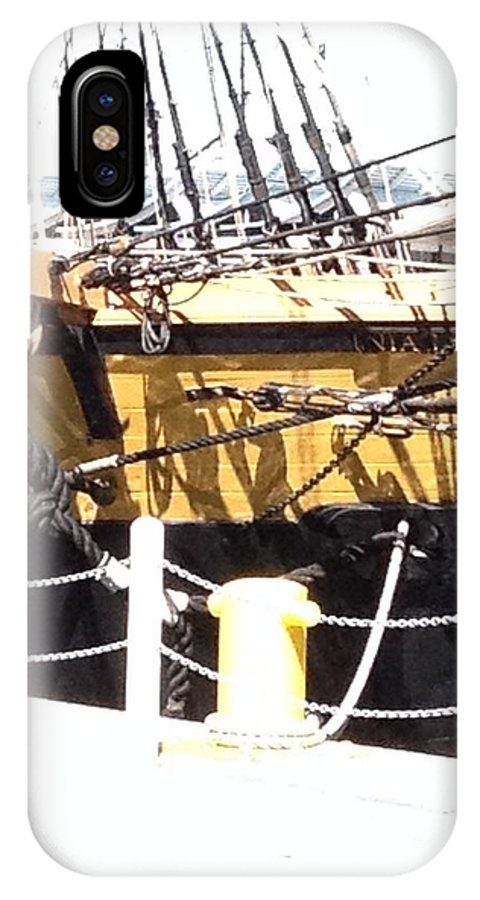 Boat IPhone X Case featuring the photograph Chains Ropes And Cables by Anne Cameron Cutri