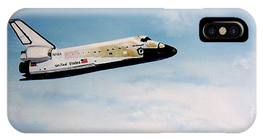 Shuttle IPhone X Case featuring the painting Challenger by Murphy Elliott