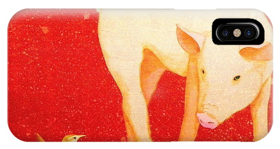 Pig IPhone X / XS Case featuring the painting Chance Meeting by John Pinkerton
