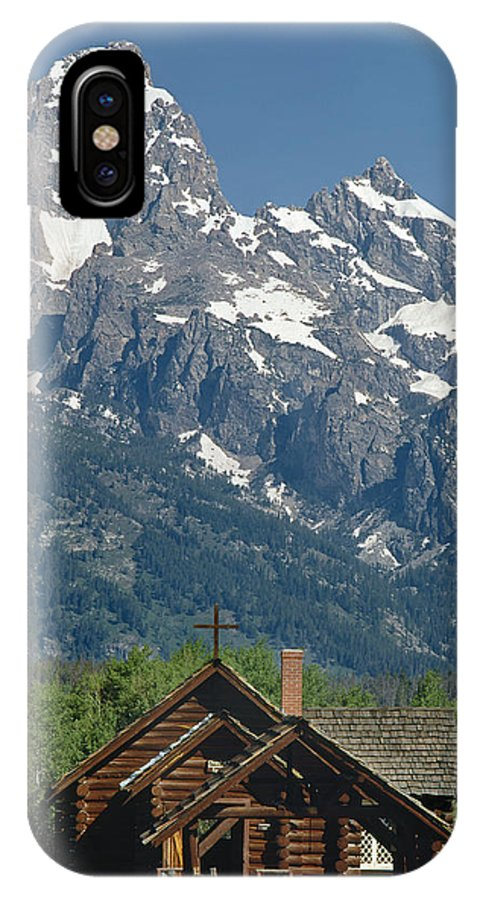 Chapel Of Transfiguration IPhone X / XS Case featuring the photograph 1m9335-chapel And Grand Teton by Ed Cooper Photography