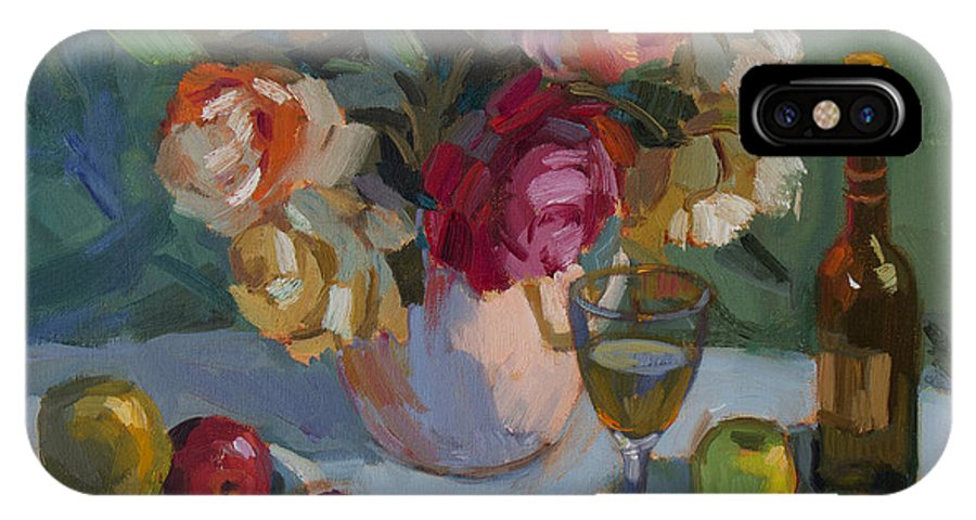Roses IPhone X Case featuring the painting Chardonnay And Roses by Diane McClary