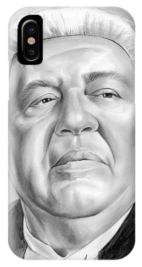 Charles Laughton IPhone X Case featuring the drawing Charles Laughton by Greg Joens