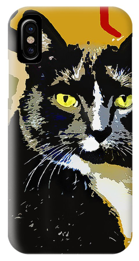 Cat IPhone X Case featuring the digital art Charlie by Susan Stone