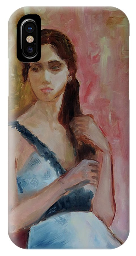 Portrait Of A Female IPhone X Case featuring the painting Charlotte by Gina Haining