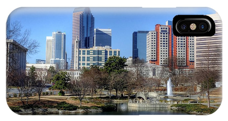 Landscape IPhone X Case featuring the photograph Charlotte Skyline From Marshall Park by Maurice Smith