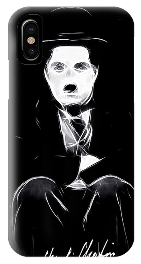 Tramp Charly Charles Spencer Chaplin Famous Actor Comedian Movie Symbol Icon Idol Black White Expressionism Abstract IPhone X Case featuring the painting Charly The Tramp by Steve K